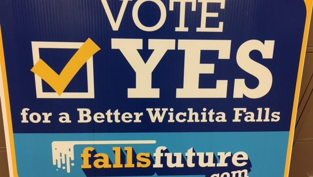 """A """"Vote Yes"""" sign used during the Wichita Falls bond election. The signs were funded by the Chamber of Commerce."""