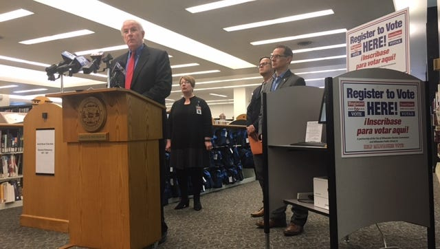 On Monday morning, mayor Tom Barrett announced the launch of voter registration kiosks at all Milwaukee Public Library branches.