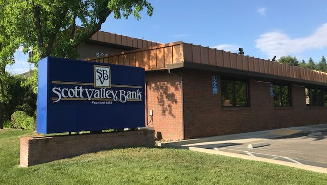 The Scott Valley Bank branch on Hartnell Avenue in Redding is seen in this image on Wednesday, May 23, 2018.