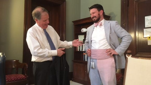 Sen. Doug Jones, D-Ala., showed off staffer Darrin