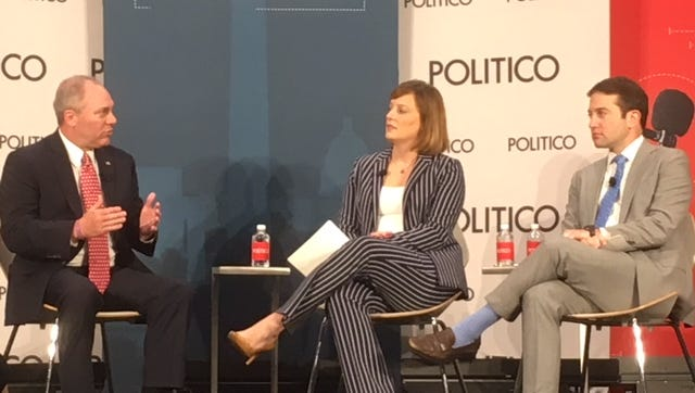 Rep. Steve Scalise, R-La., (left) talks Tuesday with Politico's Anna Palmer and Jake Sherman.