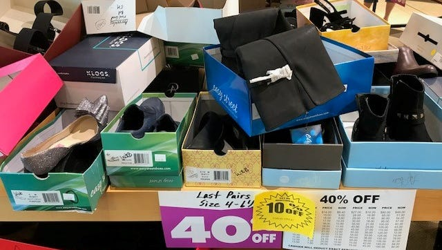 Women's shoes were marked down 40 percent, with an extra 10 percent Tuesday.