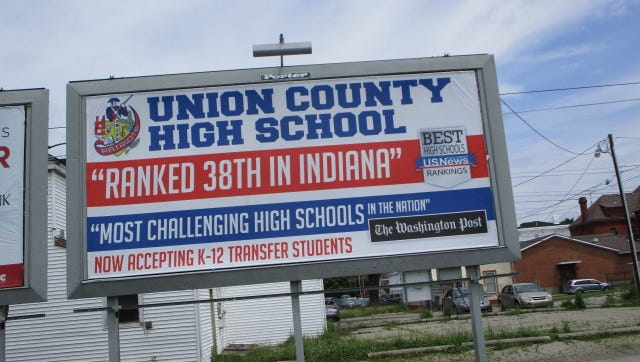 The Union County-College Corner Joint School District is using billboards in hopes of attracting more students.