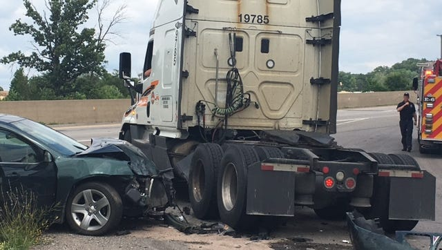 A woman veered off U.S. 30 eastbound Tuesday striking a semi cab at the on ramp to US 30 from Longview Avenue. No one was injured, according to Mansfield safety officials at the scene.