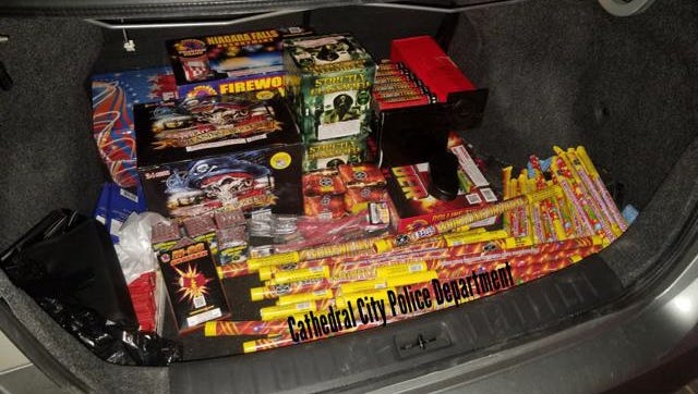 Cathedral City police confiscated more than 400 pounds of illegal fireworks Sunday night. An Indio man was arrested on suspicion of possessing them.