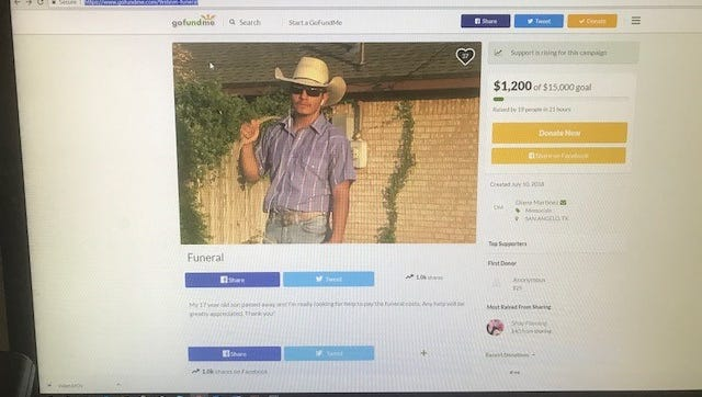 Website presents a GoFundMe page for Darren Martinez, the victim of the fatal crash at the intersection of Arden Road and Avenue N and Sherwood Way on July 10, 2018.