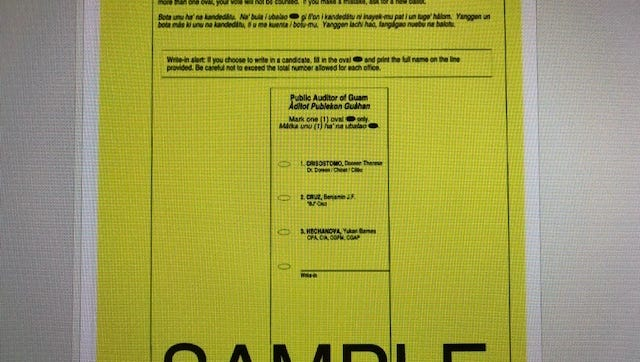 A photographed sample of a special election ballot, posted on the Guam Election Commission website.