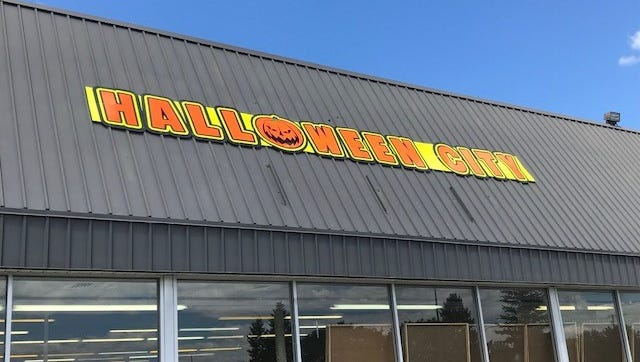 This Halloween City sign has popped up in Livonia as the company gears up for the season.