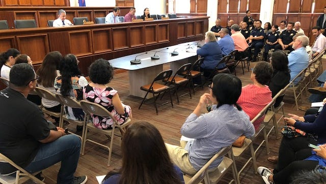Government of Guam agency officials and employees fill the Legislature's public hearing room for Thursday's public hearings on two versions of a proposed fiscal 2019 budget. Those who testified warned of furloughs, program closures and cuts in public services.