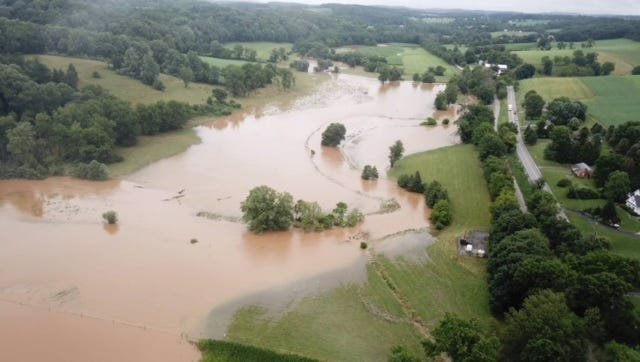 This aerial photo shows flooding in Seven Valleys