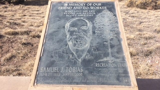 A plaque honoring Sam Tobias, who was a former recreation manager in the Smokey Bear Ranger District, will be removed from the Smokey Bear Vista area at the Lincoln National Forest.