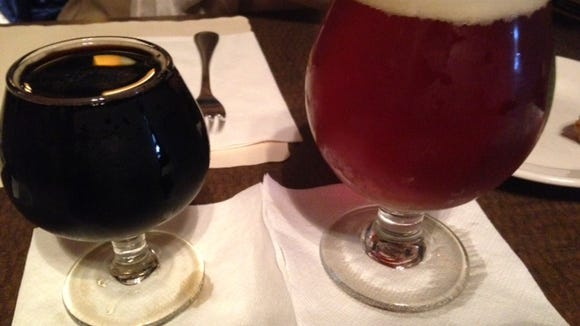 From left, Hardywood Gingerbread Stout and Lost Abbey Merry Taj.