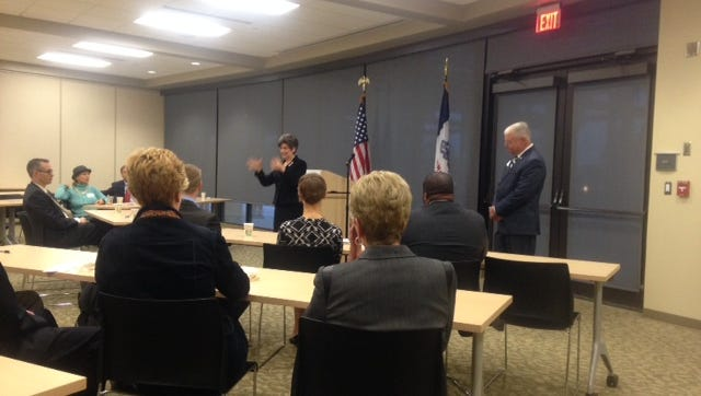 State Sen. Joni Ernst speaks to the Greater Des Moines Partnership today, Oct. 23, 2014, in Des Moines.