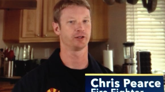 A screen shot from an ad featuring firefighter Chris Pearce.