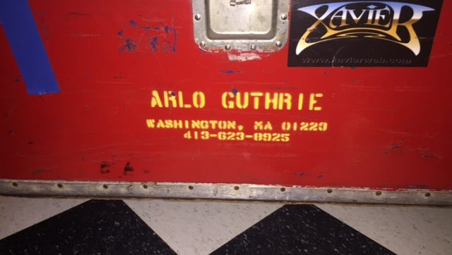 A road case owned by musician Arlo Guthrie, as seen in the lobby of the Bardavon 1869 Opera House in Poughkeepsie Sunday night.