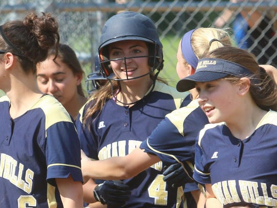 Indian Hills sophomore infielder Sarah Stocker burst