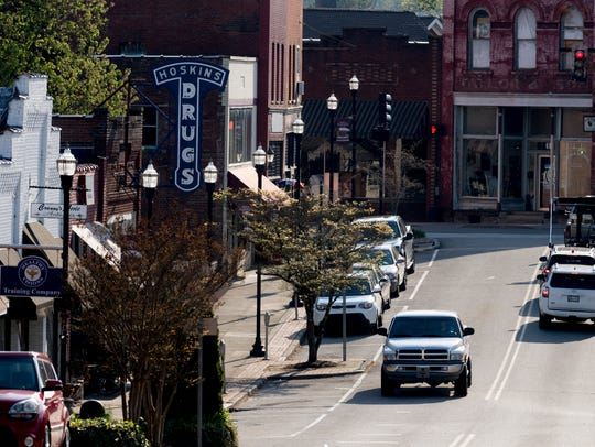 A view down Market Street in downtown Clinton, Tennessee