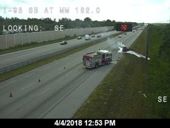 Vehicle fire reported on southbound Interstate 95 near