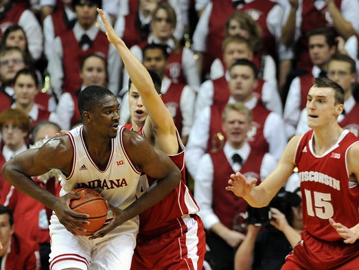 Indiana forward Noah Vonleh gets the ball under the basket against Wisconsin inside Assembly Hall, Tuesday, January 14, 2014, in Bloomington.