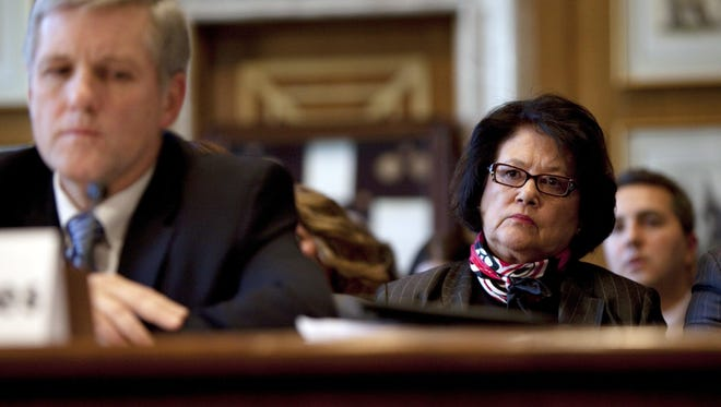Elouise Cobell, right, looks on as Deputy Secretary of the Interior David Hayes testifies during a Senate Indian Affairs Committee hearing on the multi-billion dollar Cobell v Salazar lawsuit regarding decades of mismanagement of Indian lands on Thursday, Dec. 17, 2009 in Washington, D.C. Cobell has been posthumously awarded the Presidential Medal of Freedom for her work for justice in Indian Country.