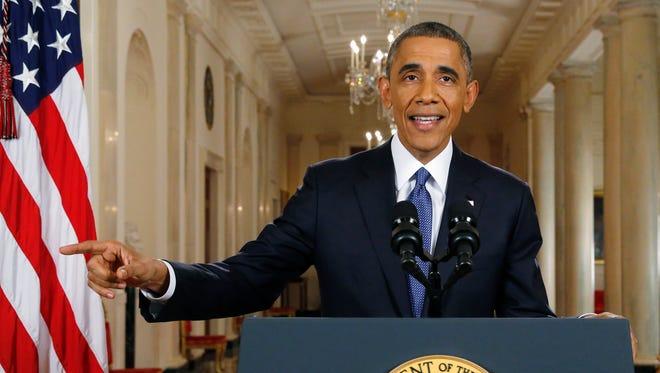 President Barack Obama speaks during a nationally televised address from the White House in Washington, D.C. on Thursday.
