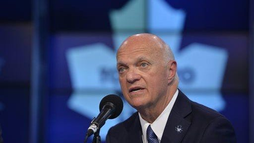 Lou Lamoriello speaks at a news conference in Toronto on announcing that the Toronto Maple Leafs had hired him as general manager to try to turn around the franchise.