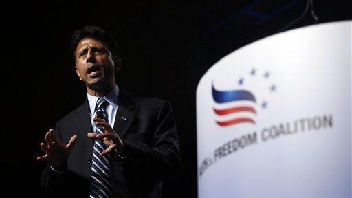 Republican presidential candidate Louisiana Gov. Bobby Jindal spoke during the Faith & Freedom Coalition fall dinner at the Paul Knapp Center in Des Moines, Iowa.