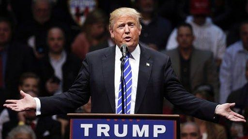 Republican presidential candidate Donald Trump speaks in Albany, N.Y., April 11.