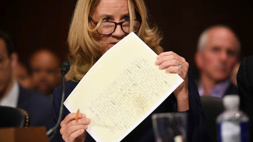 Christine Blasey Ford testifies to the Senate Judiciary Committee on Capitol Hill in Washington, Thursday, Sept. 27, 2018.