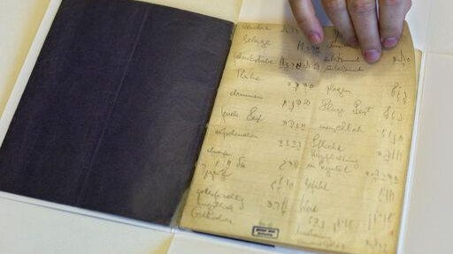 In this file photo taken on Oct. 5, 2014, a library official shows celebrated author Franz Kafka's Hebrew vocabulary notebook at Israel's National Library in Jerusalem.