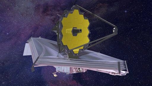 FILE - This 2015 artist's rendering provided by Northrop Grumman via NASA shows the James Webb Space Telescope. On Thursday, May 30, 2019, the U.S. Government Accountability Office reported that NASA's major projects are more than 27 percent over baseline costs and the average launch delay is 13 months. That's the largest schedule delay since the GAO began assessing NASA's major projects 10 years ago. The still-in-development James Webb Space Telescope is the major offender.