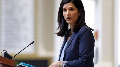 FILE - In this March 17, 2020, file photo, House speaker Sara Gideon, D-Freeport, conducts business in the House Chamber at the State House in Augusta, Maine. Gideon is one of three Democrat candidates seeking the party's nomination for U.S. Senate in the July 14 primary.