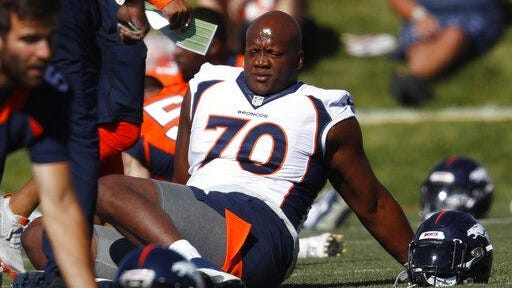 Right tackle Ja'Wuan James has appeared in just three games for the Broncos.