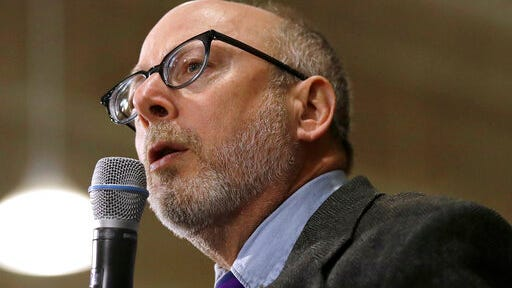 FILE - In this Jan. 18, 2020, file photo, Andru Volinsky speaks at a campaign event for Democratic presidential candidate Sen. Bernie Sanders, I-Vt., in Exeter, N.H. Volinsky is seeking the Democratic gubernatorial nomination in the Tuesday, Sept. 8, primary election.