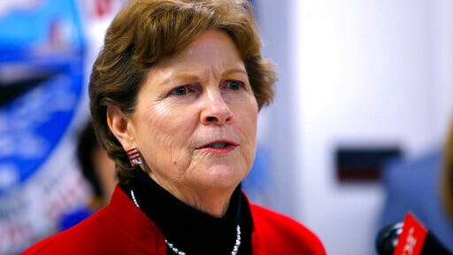 FILE - In this Friday, May, 3, 2019, file photo, U.S. Sen. Jeanne Shaheen, D-NH, speaks at the Portsmouth Naval Shipyard in Kittery, Maine. Shaheen is the incumbent Democrat candidate for Senate in the Sept. 8, 2020, New Hampshire primary election.