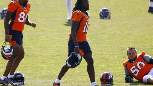 Denver Broncos wide receiver Jerry Jeudy takes part in drills at the team's NFL football training camp Friday, Aug. 14, 2020, in Englewood, Colo.