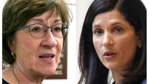 FILE - This pair of file photos shows incumbent U.S. Sen. Susan Collins, R-Maine, left, and Maine House Speaker Sara Gideon, D-Freeport, right, who are running for Senate in the Nov. 3, 2020 election.