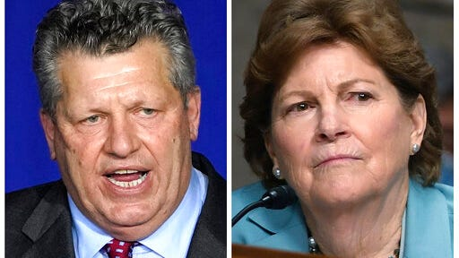 """FILE - This photo combo shows Republican Bryant """"Corky"""" Messner, left, and incumbent U.S. Sen. Jeanne Shaheen, D-NH, right, New Hampshire candidates for the U.S. Senate in the Nov. 3 general election."""