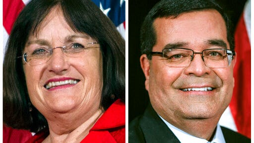 FILE - This photo combo shows incumbent U.S. Rep. Annie Kuster, D-N.H., left, and Republican challenger Steve Negron, right, candidates in New Hampshire's 2nd Congressional District in Nov. 3, 2020, general election.
