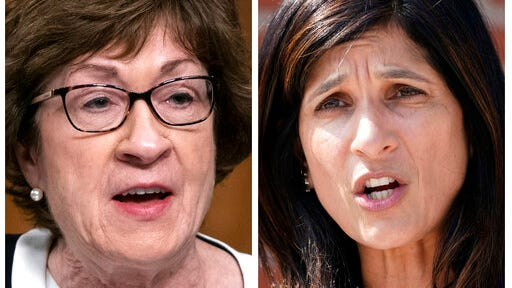 FILE - This pair of 2020 file photos shows incumbent U.S. Sen. Susan Collins, R-Maine, left, and Maine House Speaker Sara Gideon, D-Freeport, right, who are running in the Nov. 3, 2020, election to represent Maine in the U.S. Senate.