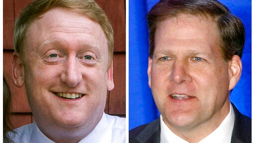 FILE - This pair of 2020 file photos shows Democrat challenger Dan Feltes, left, and Republican incumbent Gov. Chris Sununu, right, who are running for New Hampshire governor in the Nov. 3, 2020, general election.