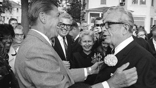 Then-California Gov. Ronald Reagan was greeted by Illinois Sen. Everett Dirksen, right, as he arrived at the home of Eureka College President Ira Langston in Eureka, Illinois on Sept. 28, 1967. Reagan, who later served two terms as U.S. president,  was an alumnus of the college and returned to help dedicate the new college library. Eureka College officials say Reagan should be honored with a statue on the grounds of the Illinois State Capitol.