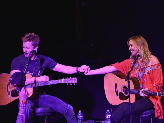 Dierks Bentley (L) and Jessi Alexander perform Last