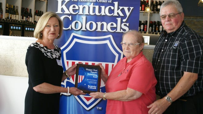 Janet Gill and Jerry Baird accepting the 2017 KY Colonels Grant