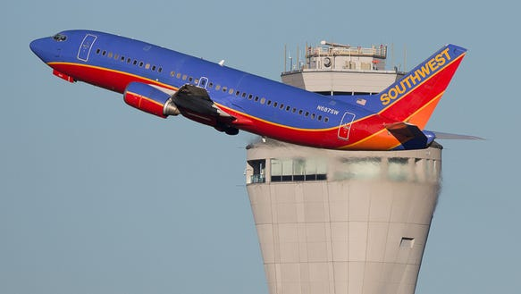 A Southwest Airlines Boeing 737-300 takes off from