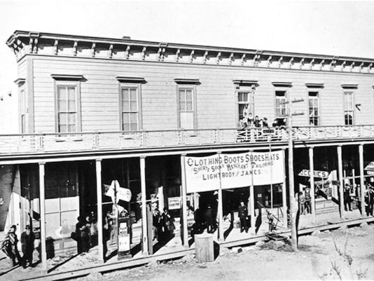 The Lightbody and James Store at the corner of South El Paso Street and West Overland Avenue, on what was then called the Davis Block, about 1880-1890. (Otis A Aultman -- Courtesy of El Paso Public Library)