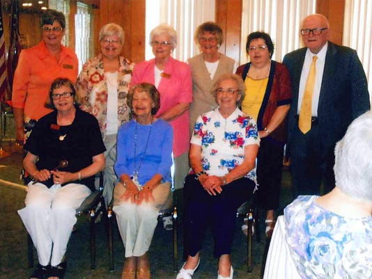 The Penn Township Lioness Club have installed its officers for 2015-2016. Pictured in the front row, from left, are: Lois Donsen, past president; Bea Farley, tail twister; and Joyce Barnhart, chaplain; back row, Nan Sterner, second vice president; Sally Hershey, first vice president; Norma Mummert, one-year director; Elaine Brodbeck, one-year director; Linda Sterner, secretary-treasurer; and Franklin Williams of the West Manheim Township Lions Club. President Jennifer Zack was not available for the photo.
