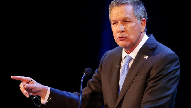 FILE - In this April 4, 2017 file photo, Ohio Gov. John Kasich speaks in Sandusky, Ohio.