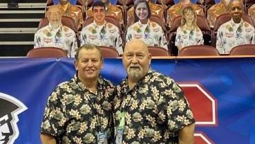 Henderson County's Wade King, left, and Dean Jones pose during the Maui Invitational.