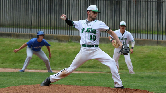 Liam Toolan throws a pitch for Irvington during a game